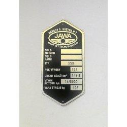 Výrobní štítek - Jawa 250 / 559 Panelka - Závody 9. května n.p.